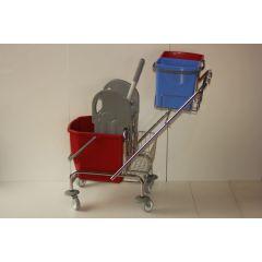 Reinigungswagen Eineimerfahrwagen mit Deichselhalter für 2 Eimer a 5 Liter 1 Eimer 20 Liter