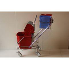 Reinigungswagen Eineimerfahrwagen mit Deichselhalter für 2 Eimer a 5 Liter 1 Eimer 20 Liter und Ablagekorb