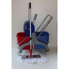 Wischset Kunststoff - Doppelfahrwagen mit Presse, Mopp Set 40: bestehend aus 3 Baumwollmopps / Wisch