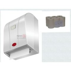 Rollenpapier Handtuchspender mit Sensor weis mit Rollenpapier 6 Rll. a. 100 m, 2 lagig Zellstoff hoc
