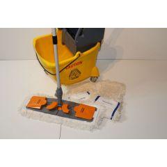 CleanSV Profi Wischset Laschenmop CleanSV gelb 40 - 24 Liter, PE Putzeimer mit 4 Rädern und Moppresse, 3 Lasch