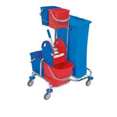 Splast verchromter Reinigungswagen mit Eimern, Abfallsackhalter und Moppresse, mit 2 x 6 liter rot u