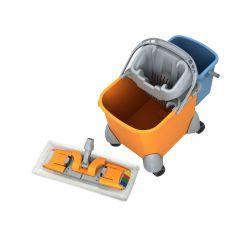 Kunststoff Wagen PIKO II, Eimer 20 Liter mit Rädern, Auswringer, Laschenmopphalter mit Mikrofasermop