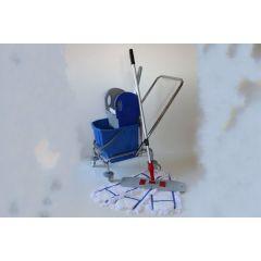 Wischset Chrom - Einfachfahrwagen mit Presse, Mopp Set 40 cm: bestehend aus 3 Baumwollmopps /
