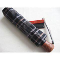 Pierre Cardin Automatik Regenschirm karo schwarz/grau Taschenschirm