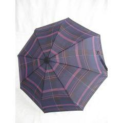 Happy Rain großer Regenschirm  lila karierter Automatik Regenschirm