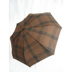 Happy Rain großer brauner Regenschirm  karierter Automatik Regenschirm