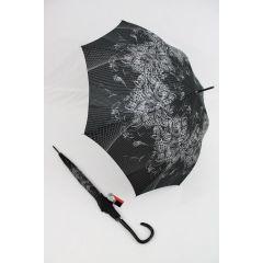Pierre Cardin Regenschirm Stockschirm Damen schwarz elegance 01