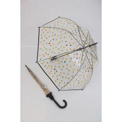 Happy Rain transparenter Stockschirm Regenschirm Emoticon schwarz