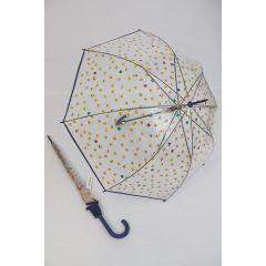 Happy Rain transparenter Stockschirm Regenschirm Emoticon blau