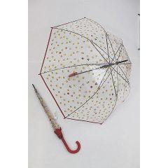 Happy Rain transparenter Stockschirm Regenschirm Emoticon rot