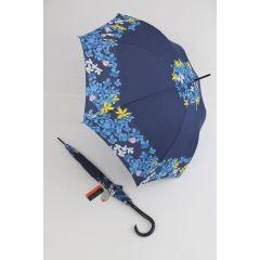 Pierre Cardin blauer Regenschirm Stockschirm für Damen Fleurette 01