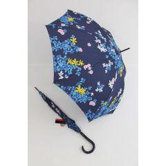 Pierre Cardin blauer Regenschirm Stockschirm für Damen Fleurette 02