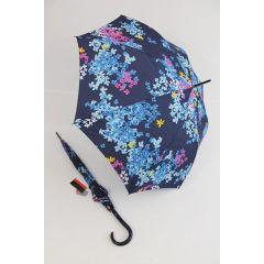 Pierre Cardin blauer Regenschirm Stockschirm für Damen Fleurette 03