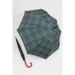 Happy Rain großer Stockschirm grün karierter Regenschirm 118 cm