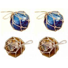 **4 Fischerkugeln im Netz- ambere/braun und blau