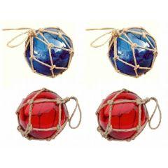**4 Fischerkugeln im Netz- rot und blau