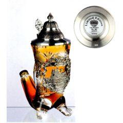 Facetten Kristall Bierkrug HORN PRAG - Spitzdeckel - German Beer Stein, Beer Mug-Zinndeckel
