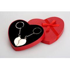 **Schlüsselanhänger für Paare- versilbert in dekorativer Geschenkbox