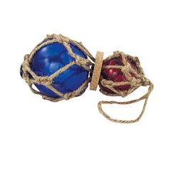 **2 Fischerkugeln im Netz- Durchm. 7,5-5 cm- L 15/25 cm