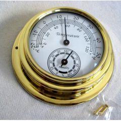 **Kleines, leichtes Thermo-/Hygrometer in Bullaugenform aus Messing- Durchmesser 10 cm