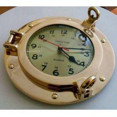 **Edle Bullaugenuhr aus Messing- Durchmesser 23 cm