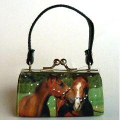 Schminktäschchen / Clipgeldbörse Minibag Edles Pferdepaar bunt