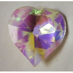 Feng Shui facettiertes Herz mit Regenbogeneffekt, Glas