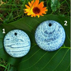 Schlangenachat blau, Anhänger Disc 50 mm