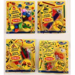 Bastelset - Pompons - Pfeiffenputzer - Perlen - Eisstiele - für Kinder