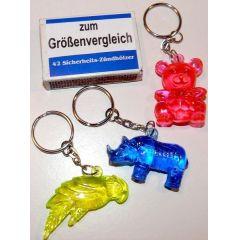 Schlüsselanhänger Tiere - Glasoptik - 4 Ausführungen