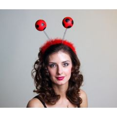 Kopfbügel mit Marienkäfer - Fühlern - Haarreif Marienkäfer
