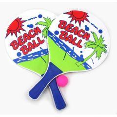 Spiel - Beachball - aus Holz - ca. 38 x 24 cm - 2 Schläger 1 Ball