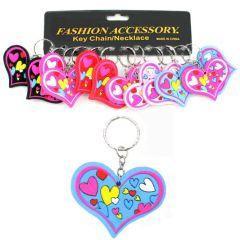 Herzen bunt an Schlüsselanhänger - ca. 6,5 x 5 cm