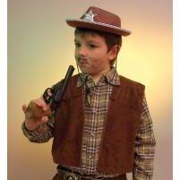 Cowboy Weste braun mit Schulterfransen - für Kinder