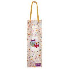 Eulilli - Geschenktüte - Tasche für Flaschen mit Eulenmotiv - ca. 33 x 10 x 8 cm