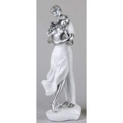 formano Skulptur Paar auf Herz Kopf an Schulter, weiß silber, 40 cm