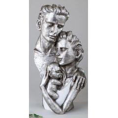 formano Skulptur Paar mit Baby in Weiß und Silber, 40 cm