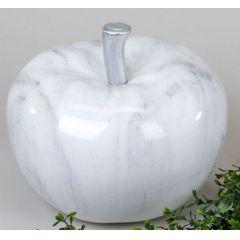 Modernes Deko Objekt Apfel aus Keramik in Marmor Grau, 25 cm