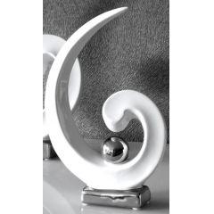 GILDE Skulptur Royal in Weiß Silber, 36 x 24 x 6,5 cm