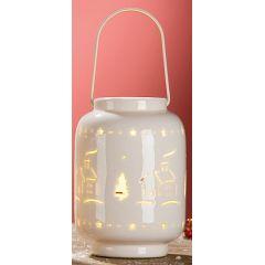 GILDE Windlicht Häuschen aus Porzellan mit LED Beleuchtung, 9 x 13 cm