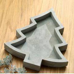 GILDE Deko-Schale in Tannenbaumform aus Zement, 23 x 20 x 3 cm