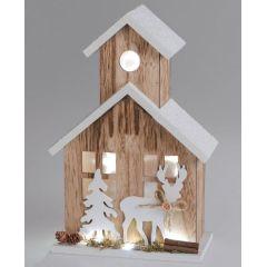 Beleuchtetes Winterhaus aus Holz mit LED Beleuchtung, 30 cm