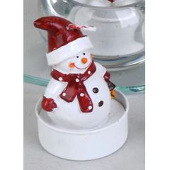Deko-Kerzen Teelichter Schneemann 6 Stück in Rot und Weiß 6 cm