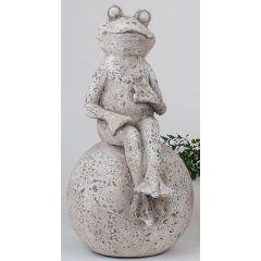 formano Frosch auf einer Kugel in Steinfarben, 39 cm