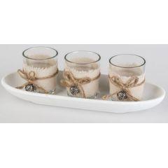 formano Teelichthalter Set im Landhausstil, 4 tg., 27 cm