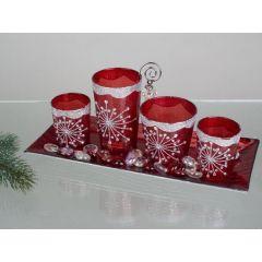 Teelichthalter Deko-Set 5tlg. In Flash-Rot aus Glas inkl. Deko
