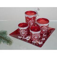 Teelichthalter Deko Set 5tlg. 20 x 20 cm in Flash-rot