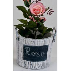 Blumenkübel mit Tafel und Henkel, 13 x 13 cm