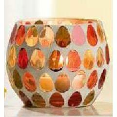 Windlicht aus gepunktetem Glas, 8 x 6,5 cm